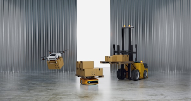 Magazijn werken en overbrengen van robot, robot en automatisch geleid voertuig in magazijn, weergave van 3d-illustraties