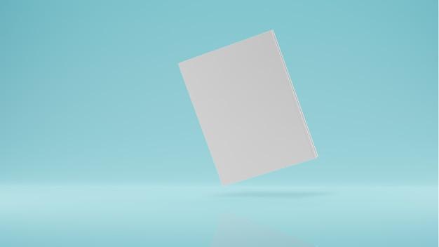Magazine cover boek met zadel mockup drijvend op een witte achtergrond