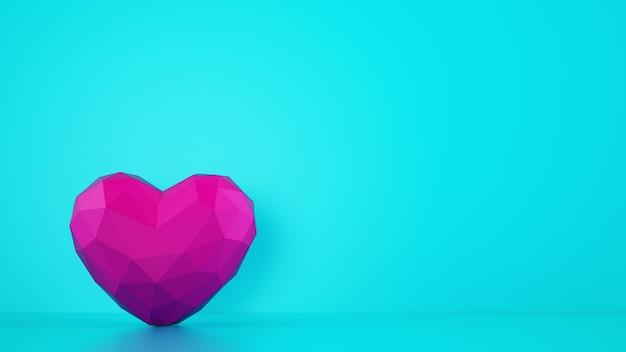 Magenta kleur gefacetteerd hart op cyaan achtergrond Premium Foto