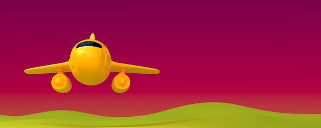 Magic holiday vakantie reizen concept: avondlucht en speelgoed vliegtuig vliegen hoog - 3d render - luchthavenvervoer