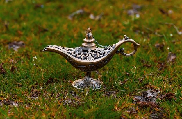 Magische lamp van aladdin op de natuur