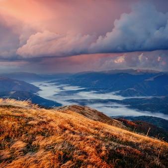 Magische zonsondergang in de bergen oekraïne