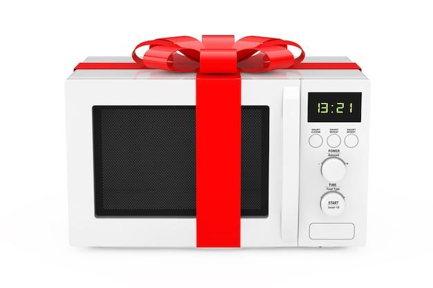 Magnetron oven cadeau met rood lint en strik op een witte achtergrond. 3d-rendering
