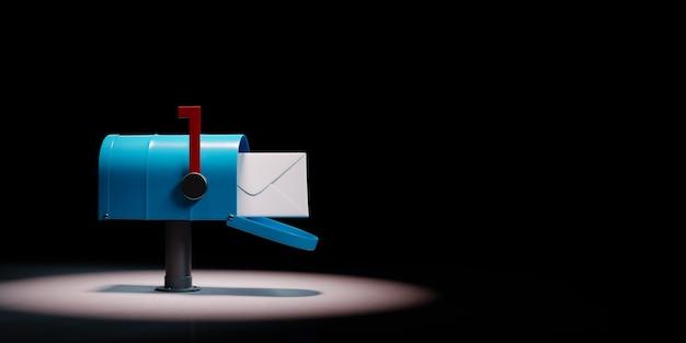 Mailbox uitgelicht op zwarte achtergrond
