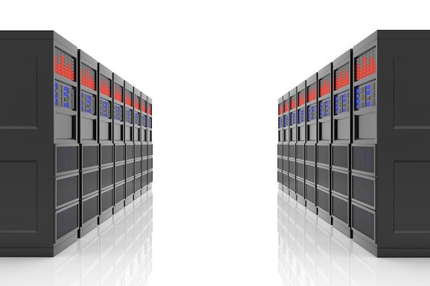 Mainframe die op witte achtergrond wordt geïsoleerd