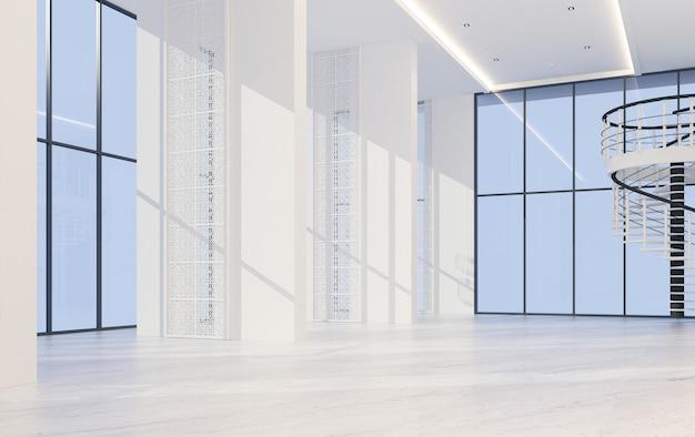Mainhall dubbele ruimte binnenlandse chinees-portugese stijl met het marmeren vloer 3d teruggeven