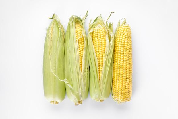 Maïskolven geïsoleerd op wit