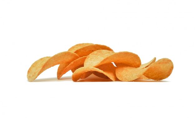 Maïsspaanders op een witte muur. snelle snack.