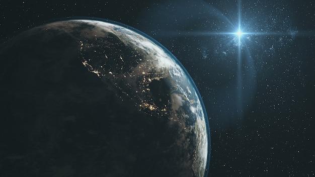 Majestueuze aarde inzoomen orbit sterrenhemel achtergrond. planeet draaien oppervlak star light glow outer space deep universe exploration concept 3d-animatie