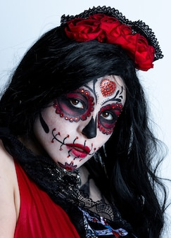 Make-upmodel met als thema mexican day of the dead