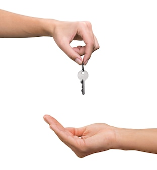 Makelaar in onroerend goed die sleutel geeft aan klant, nieuw huisconcept verplaatsen