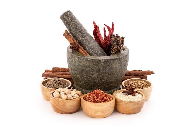 Mala chili recept en ingrediënten zoals gedroogde chili, witte sesam, korianderzaad, komijn, kardemom, steranijs, kaneel en sichuan peper.