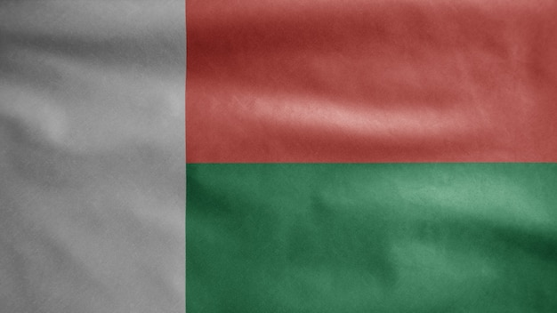 Malagasi vlag zwaaien in de wind. madagaskar banner waait gladde zijde.