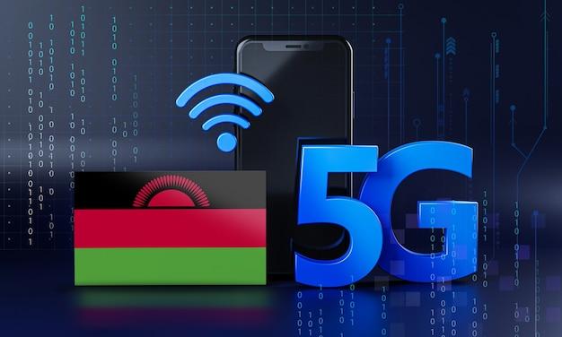 Malawi klaar voor 5g-verbindingsconcept. 3d-rendering smartphone technische achtergrond