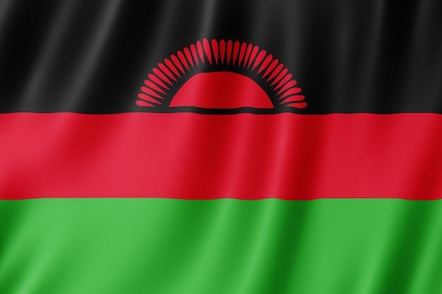 Malawi vlag zwaaien in de wind.