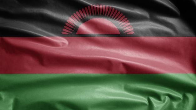Malawische vlag zwaaien in de wind. malawi banner waait zachte zijde soft