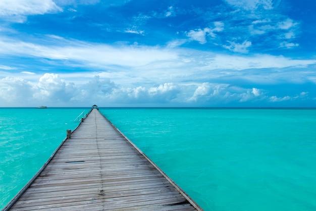 Maldiven strand resort panoramisch landschap. zomer vakantie reizen vakantie achtergrond concept. malediven paradijs strand.