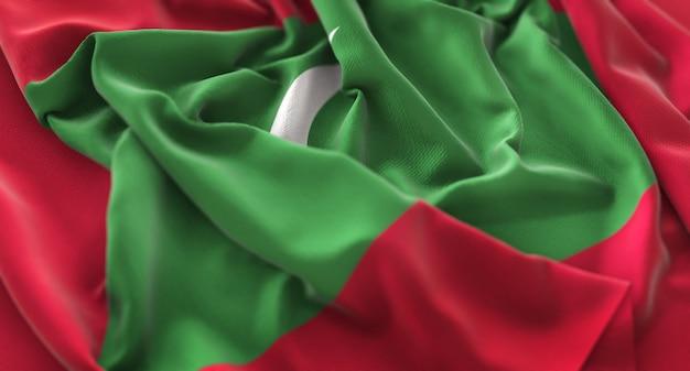 Maldiven vlag ruffled mooi wapperende macro close-up shot