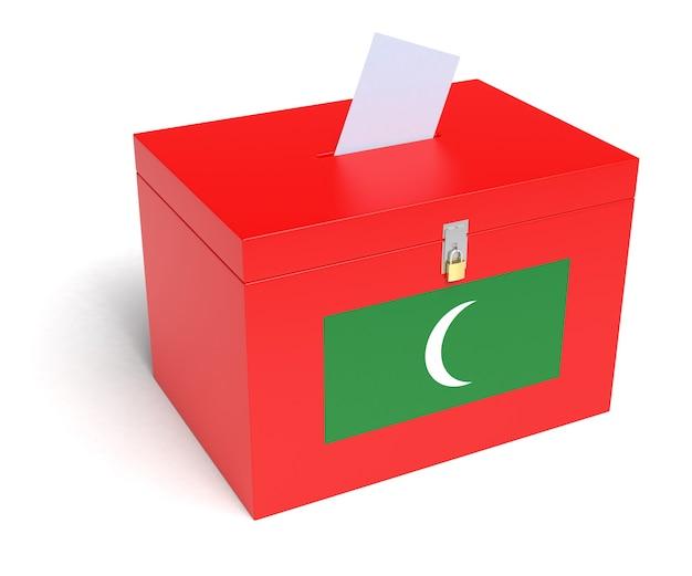 Maldivische vlag stembus. geïsoleerde witte achtergrond. 3d-weergave.