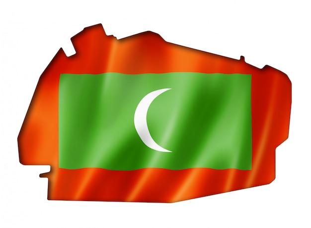 Malediven vlag kaart