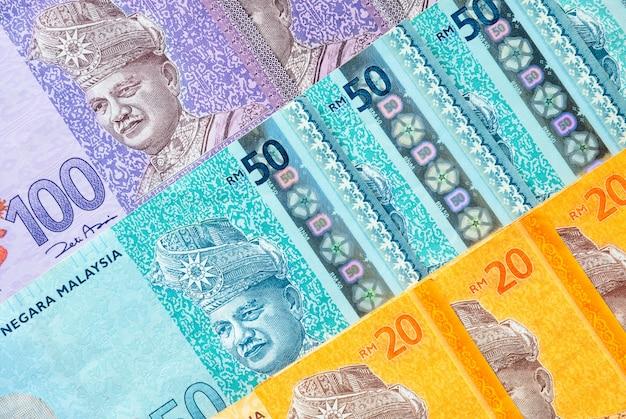 Maleisische ringgit bankbiljettenachtergrond. financieel concept.