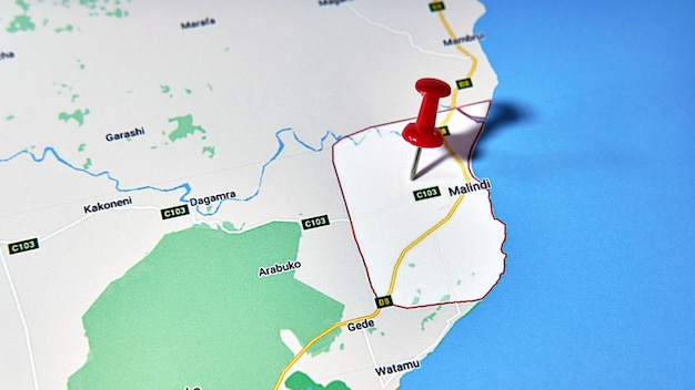 Malindi, kenia op een kaart met een gekleurde speld