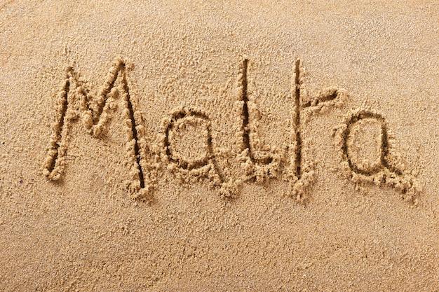 Malta handgeschreven strand zand bericht
