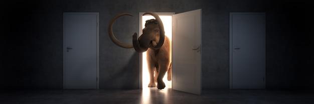 Mammoet loopt een open deur binnen 3d-rendering