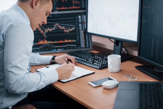 Man aan het werk online op kantoor met meerdere computerschermen in indexgrafieken.