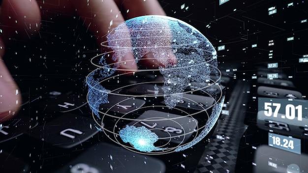 Man aan het werk op de computer met afbeelding van de modernisering van de codering van de wiskunde