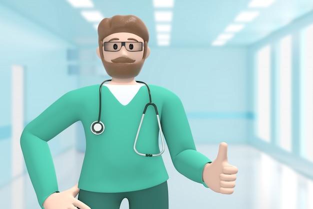 Man arts in het medische interieur van het ziekenhuis duim omhoog. goed, succes. cartoon persoon.