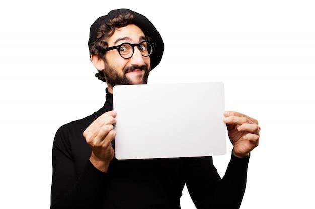 Man baard stijlvolle art billboard