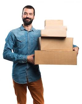 Man bedrijf dozen
