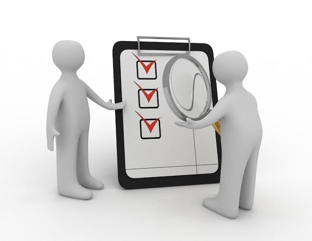 Man controleert een checklist met een vergrootglas