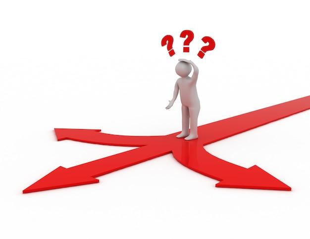 Man denken en verwarren met drie rode pijlen die drie verschillende richtingen tonen.