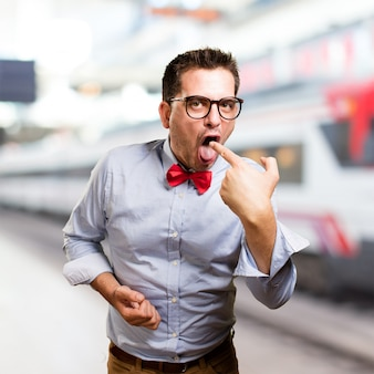 Man draagt een rode vlinderdas. op zoek ziek.