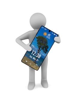 Man en telefoon op witte achtergrond. geïsoleerde 3d-afbeelding