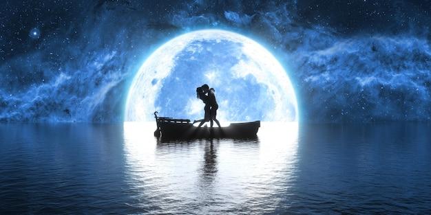 Man en vrouw kussen in een boot tegen de achtergrond van een grote volle maan, 3d illustratie