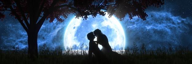 Man en vrouw kussen op de achtergrond van een grote volle maan, 3d illustratie