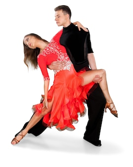Man en vrouw salsa dansen op witte achtergrond