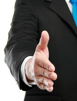 Man hand aanbieden van handdruk