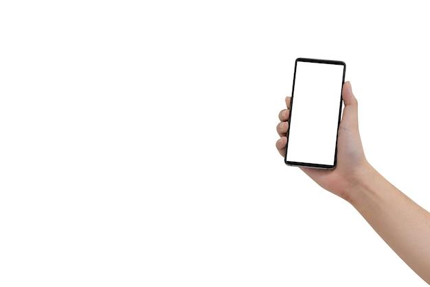 Man hand houden smartphone met leeg scherm geïsoleerd op een witte achtergrond