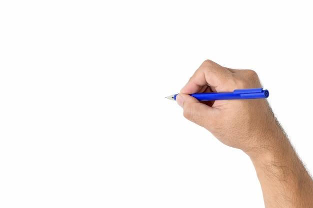 Man hand is klaar om te tekenen met pen geïsoleerd op een witte achtergrond,