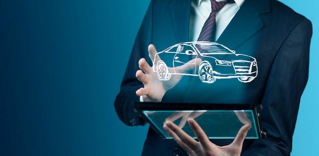Man hand moderne digitale tablet met auto