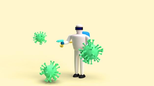 Man hazmat pak en virus 3d-rendering voor medische inhoud.