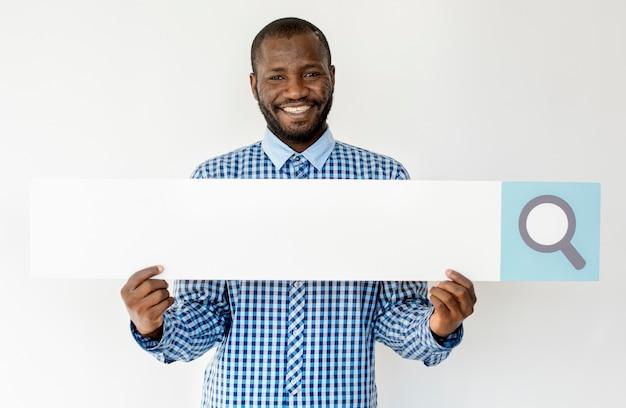 Man hold search box vergrootglas