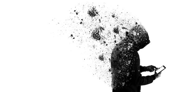 Man in hoodie met een telefoon geïsoleerd op een witte achtergrond. guy wacht op likes en reacties. verslaafd aan sociale netwerken.