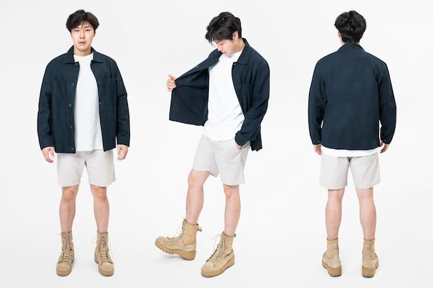 Man in marineblauw jasje en korte broek streetwear set