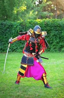 Man in samoeraikostuum met zwaard. origineel personage