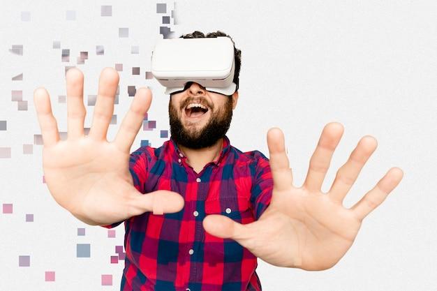 Man in vr-headset in pixelverspreidingsstijl